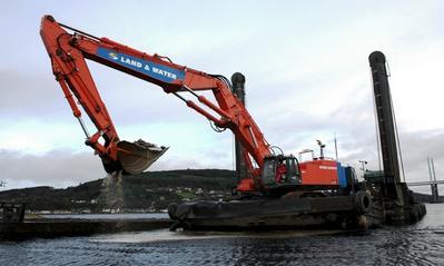barge-mounted excavator