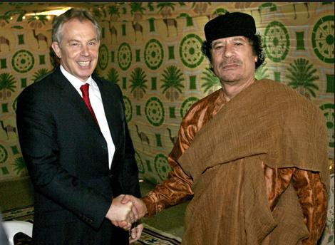 blair gaddafi shake hands